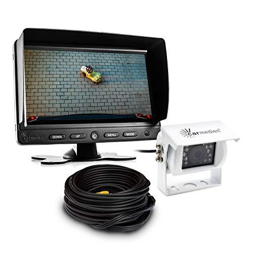 "Carmedien cm-ESRFS3 Rückfahrsystem mit weisser Rückfahrkamera und 7"" TFT Monitor Rückfahrvideosystem für Transporter Wohnmobil LKW 12V bis 24 Volt"