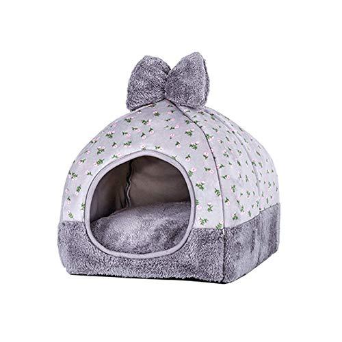 Tienda de campaña para mascotas en Igloo 2 1 plegable y acogedor refugio para dormir con extraíble 31 x 31 x 35 cm, color gris