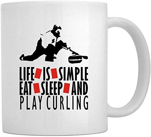 Life is Simple EAT, Sleep Play Curling Mug