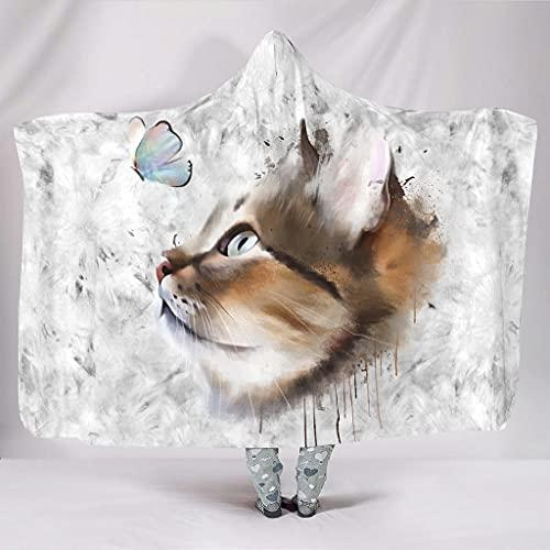 Fineiwillgo Manta con capucha con diseño de gato y mariposa, muy suave y cálida, para estudiantes, sofá o sillón de salón, color blanco, 130 x 150 cm