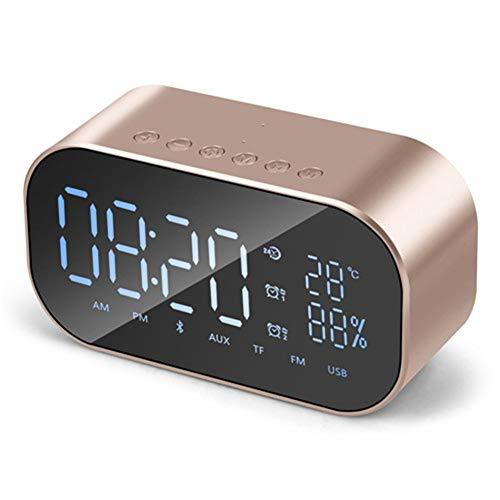LZJZ Altavoz Bluetooth Radio Despertador LED Espejo Escritorio Caja de Metal Dormitorio Dormitorio en casa Habitación Doble Reloj Despertador,Gold