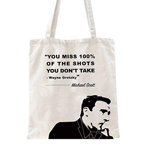 Ihopes Michael Scott Inspirational Motivational Quotes Reusable Tote Bag   You Miss 100% of The Shots 12 Oz Canvas Tote Bag   Perfect The Office TV Show Gifts