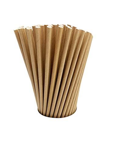 100 Kraft Biodegradable Paper Straws co-Friendly Biodegradable Drinking Straws Bulk for Party Supplies, Bridal/Baby Shower, Birthday, Mixed Drinks, Weddings, Restaurant, Food Service, Drink Stirrer