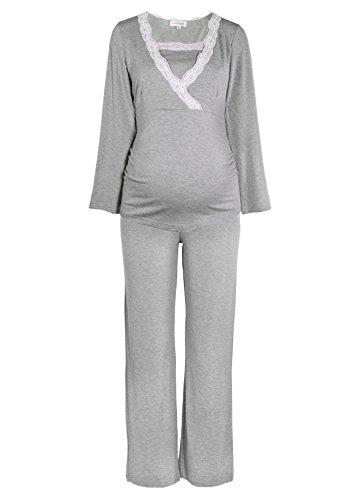 Herzmutter Stillpyjama-Umstandspyjama - Schlafanzug für Damen mit Spitze - Nachtwäsche für Schwangerschaft-Stillzeit - Pyjama-Set mit Stillfunktion - Lang-Langarm - Blau-Grau-Taupe - 2000 (XL, Grau)