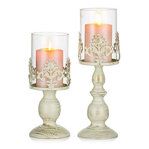 TYXL Juego de 2 candelabros para Velas con Pantalla de Vidrio, candelabro de Metal Antiguo Hurricane, decoración de Mesa de Comedor, hogar, Boda, Fiesta, Chimenea (L + S,