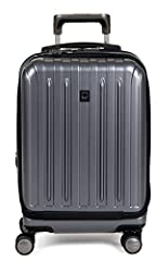 Integrated 3-dial TSA approved combination lock for security; suitcase expands up to 2 inches for additional packing space Keeps items secure and wrinkle free with two large fully-lined compartments and web straps; zippered pocket for delicate items ...