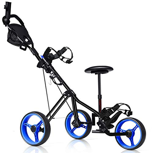 Tangkula Golf PushCart, Foldable 3 Wheels Push Pull Cart, Lockable Golf Trolley with Seat Scoreboard Bag,Golf Push Cart(Navy)