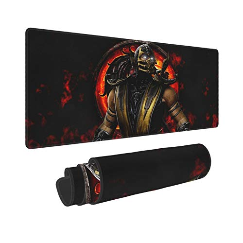Akeanu Mortal Kombat Scorpion Gaming Mouse Pad, XXL Large Big Computer Keyboard Mouse Mat Desk Pad with Non-Slip Base and Stitched Edge for Home Office Gaming Work, 31.50x11.81x0.12inch