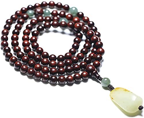 Pulsera Budista Beads Chakra Beaded Bracelet 108 Pterocarpus Santalinus Hetian Jade Colgante Rosario Oración Mala Feng Shui Wealth Pulsera Collar Atraer dinero para la buena fortuna Valiente