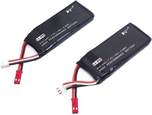 YUNIQUE ITALIA 2 Pezzi Batterie 7.4v 610mah Li-Poli per Hubsan H502S H502E Plus Rc Drone Ricambi