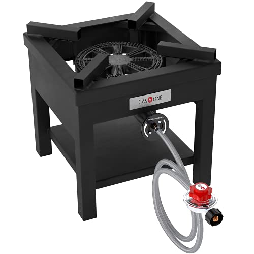 GasOne B-5350 270,000 BTU Rugged Propane Burner Cooker With 0-30 PSI Regulator with Steel Braided Hose For Outdoor Cooking, Turkey Fry, Black