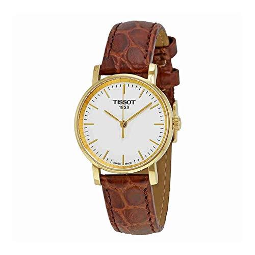 Tissot Damen Analog Quarz Everytime Small Armbanduhr mit Leder Armband T1092103603100