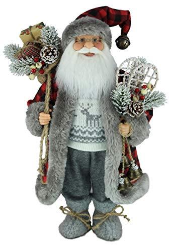 "16"" Inch Standing Buffalo Plaid Grey Reindeer Sweater Santa Claus Christmas Figurine Figure Decoration 169090"