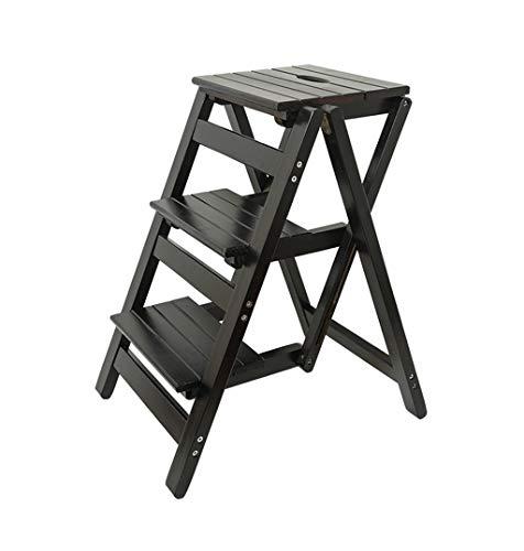 Kruk met 3 niveaus, multifunctionele inklapbare ladder, kruk, massief houten bloemenrek, staande huishouding, houten ladder, multifunctioneel, indoor opstapladder, xc zwart