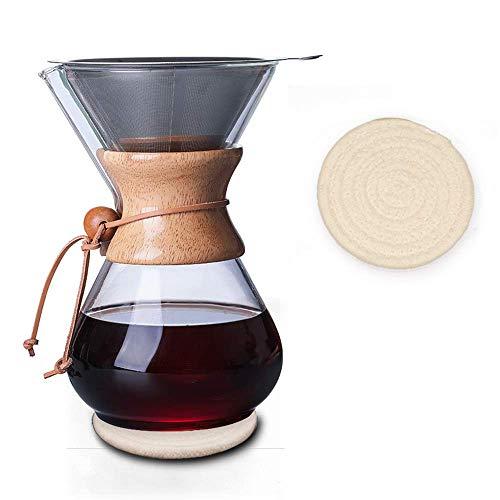 Kaffeekaraffee mit Holzhals 400 ml, Pour Over Kaffeebereiter, Kaffeekanne Mit Permanent Kaffeefilter Aus Edelstahl, Manuelle Kaffeemaschine Mit Glaskanne und Edelstahlfilter