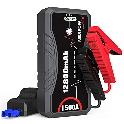 NEXPOW Car Battery Starter Q10S, 1500A Peak 12800mAh 12V Car Jump Starter Power Pack with USB Quick Charge 3.0 (Up to 7L Gas or 5.5L Diesel Engine)