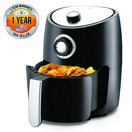 NutriChef, Ro Oven 2 Quart-1000w Power Oilless Dry Machine Large Capacity Family Size Air Fryer Removable Deep Non-stick Teflon Fry Basket, Roasting Plate PKAIR, Black