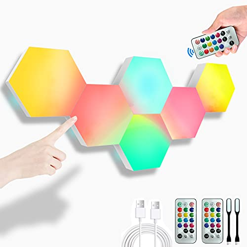 Paneles LED Hexagonal, Panel LED RGB Gaming, Pared Inteligentes Luz Nocturna, Control Táctil Empalme Panel de Luz, para Dormitorio/Sala/Fiesta, Paquete de 6
