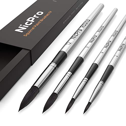 Nicpro 4 PCS Squirrel Watercolor Paint Brush Set, Professional Nature Hair Artist Mop Paintbrush Round for Water Color, Acrylic Detail Painting