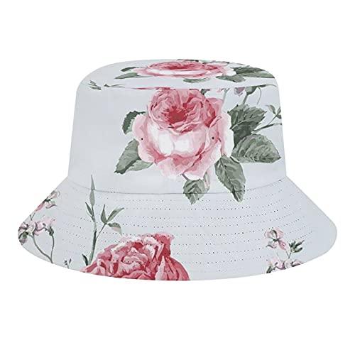 Blooming English Rose Watercolor Painting Style Garden Shabby Forma Salvaje Flores Unisex Moda Cubo Sombrero Verano Pescador Sombrero Sol