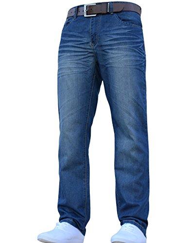 Mens Crosshatch Classic Jeans für Herren, Denim, stilvoll, gerades Bein, normale Passform, alle Taillengrößen, inklusive Gürtel Gr. 38 W/30 L, Mid Wash