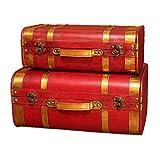 Yamyannie Maletas Vintage Las Cajas de Madera joyería Maletas de la Vendimia de Disparo 2pcs Caja del baúl de los apoyos de Las Cajas del Tronco Cajas (Color : Red, Size