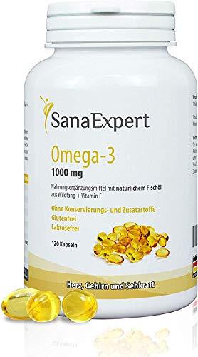 SanaExpert Omega-3 Fettsäuren, 1000 mg, mit natürlichem Fischöl aus Wildfang und Vitamin E, für Gehirn, Herz & Sehkraft, 2-Monatspackung à 120 Kapseln (1)