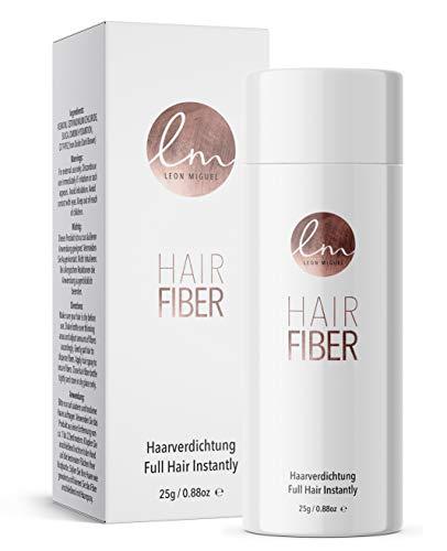 LEON MIGUEL Hair Fiber - Haarverdichtung - Premium Streuhaar/Schütthaar mit Soforteffekt bei Geheimratsecken, Haarausfall und lichtem Haar - Haarpuder | 25g (Weiß)