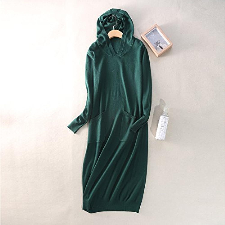 Hooded Belt Sweater Dress damen 's Long Sleeve Hooded Knit Dress Skirt Slim - Style Leisure, Dark Grün B0772X1D7M  Geeignet für Farbe