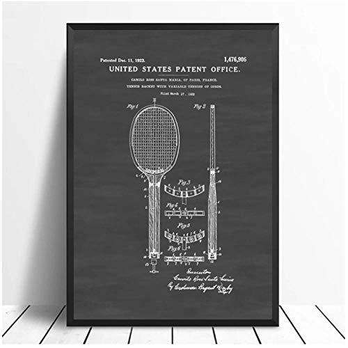 DLFALG Póster de raqueta de tenis blanco y negro de estilo Vintage, pintura artística, póster impreso, lienzo, decoración del hogar, imagen, impresión de pared, 50x70cm sin marco
