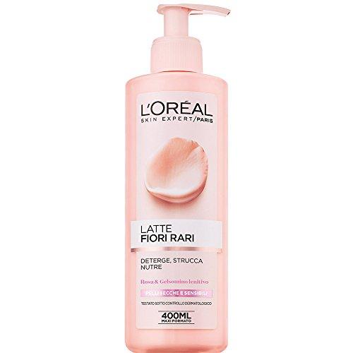 L'Oréal Paris Detergenza Fiori Rari Latte Struccante per Pelli Secche e Sensibili - 400 ml - [Confezione da 6]