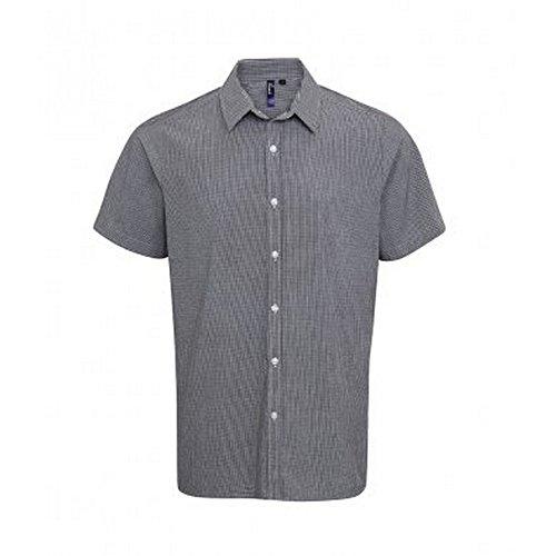 Premier - Camisa de Manga Corta de Guinga para Hombre (Mediano (M)/Blanco/Negro)