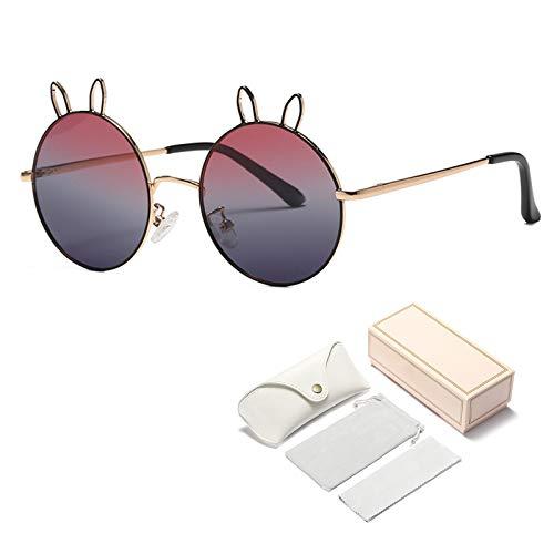 Qianghua Gafas de Sol polarizadas para niños Orejas de Conejo Redondas de Metal Gafas de Sol de Verano para niñas y niños para Edades de 5 a 13 años,A