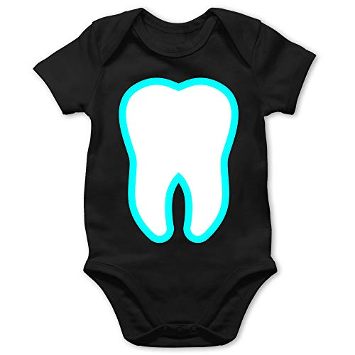 Shirtracer Karneval und Fasching Baby - Farbiger Zahn - Zahnfee Kostüm - 18/24 Monate - Schwarz - Beruf/Arbeit - BZ10 - Baby Body Kurzarm für Jungen und Mädchen