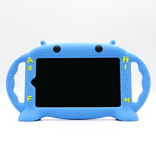 Kids Proof Case for Samsung 7 inch Tablet Galaxy Tab A/3/3 Lite/4/E Lite 7.0-CHINFAI [Cartoon Robot Series] Silicone Handle Stand Case Cover for Tablet SM-T280/T113/T230 (Blue)