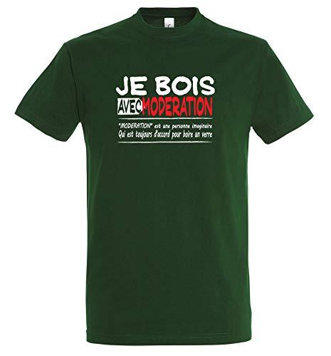 Boutique KKO-Maglietta divertente con scritta in francese 'Je bois avec modération' verde bottiglia Large