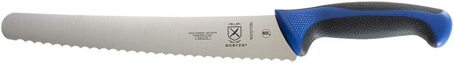 Mercer Culinary M23210BL Bread Knife, 10-Inch Wavy Edge Wide, Blue
