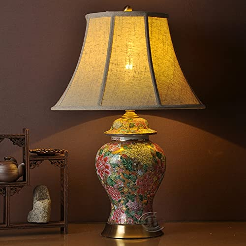 Zenghh Lámpara de escritorio de mesa de cerámica China tradicional flor clásica noche noche luz hecha a mano horno jarrón cobre artesanía antiguo rural pastoral para el ladrón pastoral abuelo madre do