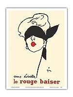 ためらうことなく赤いキス - パリ - Paul Baudecroux - ビンテージな広告ポスター によって作成された ルネ・グリュオ 1949 - アートポスター - 23cm x 31cm