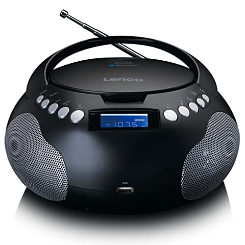 Lenco SCD-331 - tragbares CD-Radio - Bluetooth - USB-Anschluss - programmierbarer Titelspeicher -PLL FM Radio - LCD-Display - AUX-Eingang - Schwarz
