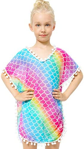 Sylfairy Unicorn Cover Up for Girls Rainbow Swimwear Coverups Swimsuit Beach Dress Top with product image