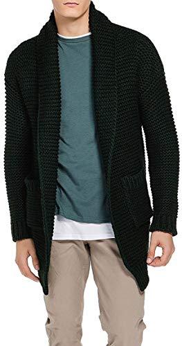 The Project Garments Men's Oversized Shawl Collar Wool Blend Cardigan Forest Green (Medium)