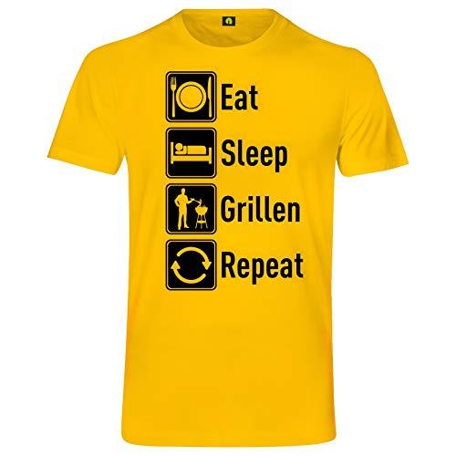 Eat Sleep Grillen Repeat T-Shirt | Grill | Barbecue | Brutzler | Fleisch | Steak Gelb S