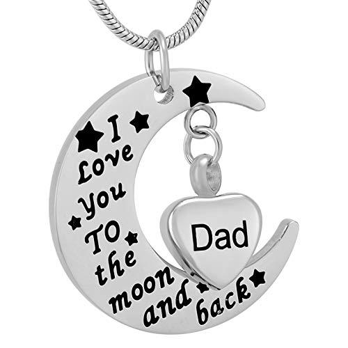 TIANZXS Te Amo a la Luna y la Espalda Colgante de cremación de Acero Inoxidable con un pequeño Dije de urna de corazón Joyería de Recuerdo de papá