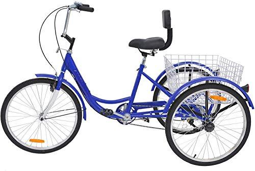 Tres adultos triciclos Trike Rueda de bicicleta del crucero de velocidad 1, 20 pulgadas, llantas de adultos Trikes de 3 ruedas Bicicletas carretera Cesta para la tercera edad, mujeres, hombres,Azul
