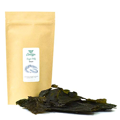 CENALGA Irish Organic Certified (IOFGA) Kombu Sugar Kelp (Saccharina) Whole Leaf - Sustainably hand harvested from wildcrafted seaweed - naturally sun-dried - Pure Nature - 1.5 oz / 42.5 g