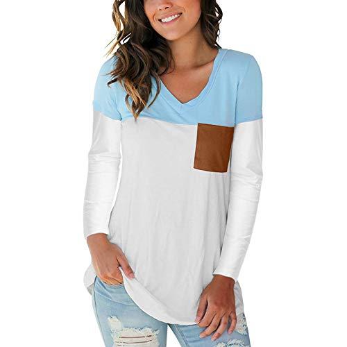 Pocciol UPF 50 de manga larga para mujer, patchwork de color sólido, jersey de secado rápido, ligero para entrenamiento