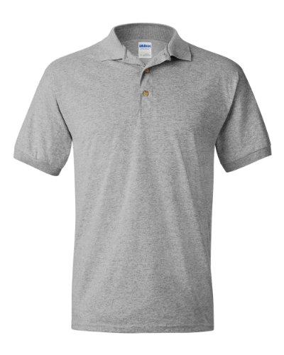 Camisa polo masculina Gildan DryBlend pré-encolhida de manga curta, Cinza, X-Large