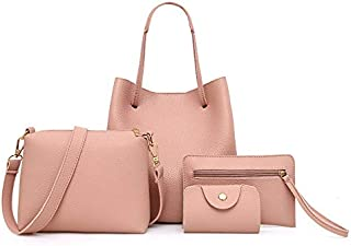 Wultia - 4Pcs 2019 Women Pattern Leather Handbag+Crossbody Bag+Messenger Bag+Card Package Capacity Female Crossbody Bag Ladies Pink