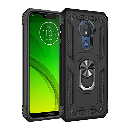 Rebex Compatible with Motorola G7 Power Case Cover,Moto G7 Supra Case,Tough Heavy Protective 360 Metal Rotating Ring Kickstand Holder Grip Magnetic Armor Heavy Duty Shockproof (Black)